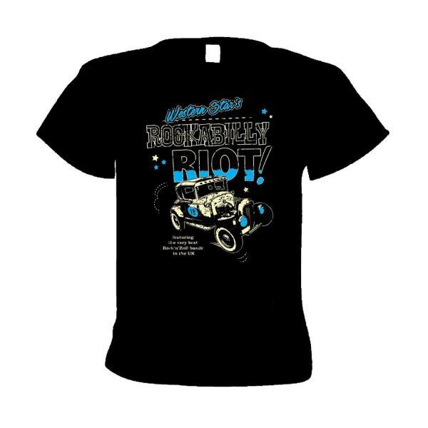 Buy Online Western Star - Rockabilly Riot T-Shirt (Blue On Black)