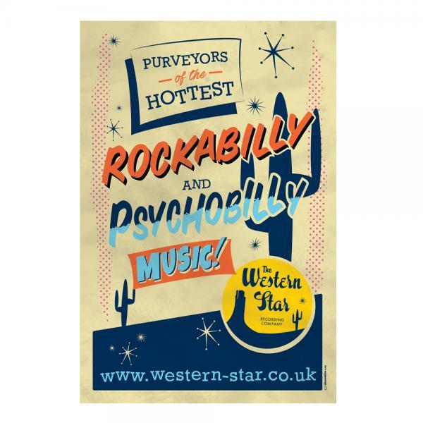 Buy Online Western Star - Retro Tin Sign - Hottest Psychobilly & Rockabilly