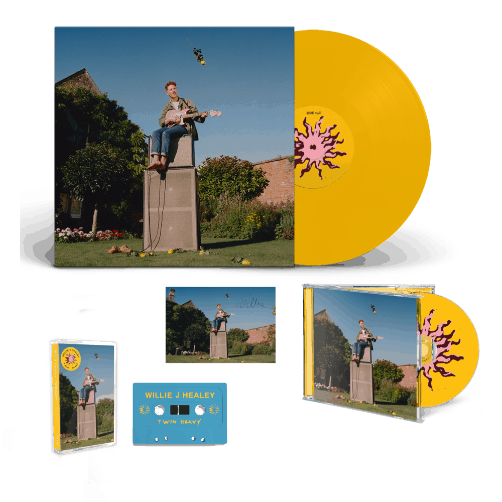 Buy Online Willie J Healey - Twin Heavy Yellow Vinyl (Signed) + CD (Signed) + Cassette (Signed) + A6 Postcard (Signed)
