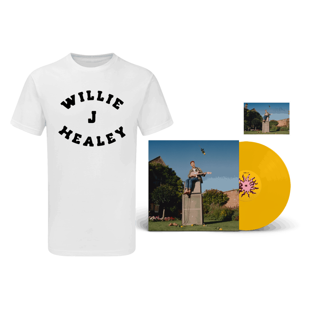 Buy Online Willie J Healey - Twin Heavy Yellow Vinyl (Signed) + White T-Shirt + A6 Postcard (Signed)